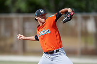 Miami Marlins pitcher Brandon Barker (43) during a Minor League Spring Training Intrasquad game on March 27, 2018 at the Roger Dean Stadium Complex in Jupiter, Florida.  (Mike Janes/Four Seam Images)