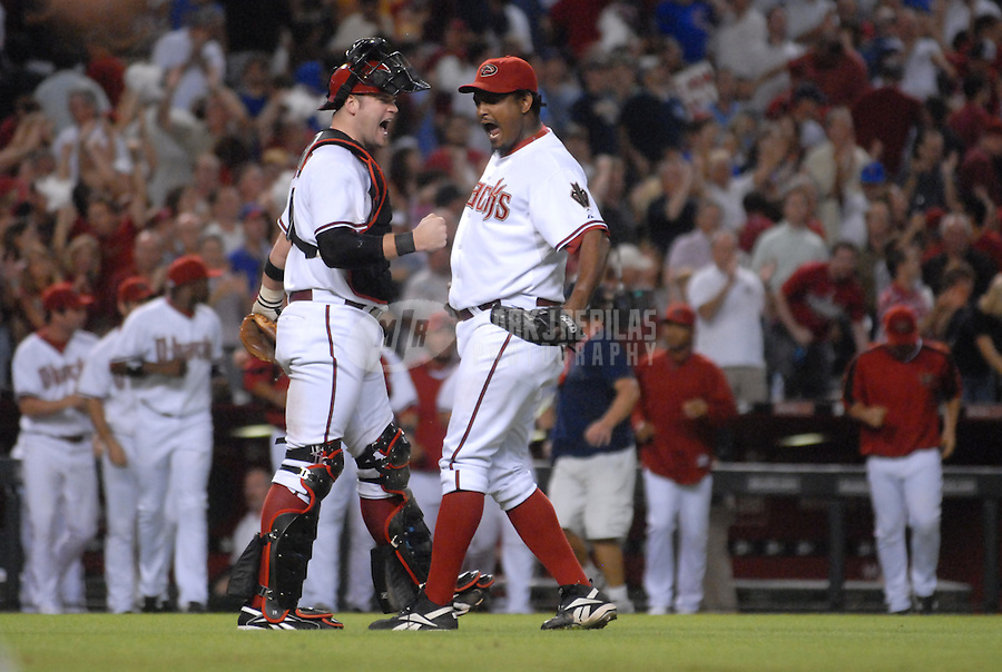 Oct 3, 2007; Phoenix, AZ, USA; Arizona Diamondbacks pitcher (47) Jose Valverde celebrates with catcher (19) Chris Snyder after getting the last out to defeat the Chicago Cubs in game one of the National League Division Series at Chase Field. The Diamondbacks defeated the Cubs 3-1. Mandatory Credit: Mark J. Rebilas-US PRESSWIRE