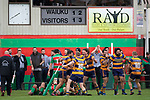 Patumahoe players celebrate after Riley Hohepa scores a try right on fulltime. Counties Manukau Premier Club Rugby game between Waiuku and Patumahoe, played at Waiuku on Saturday April 28th, 2018. Patumahoe won the game 18 - 12 after trailing 10 - 12 at halftime. <br /> Waiuku Brian James Contracting 12 - Apec Togafau, Nathan Millar tries, Christian Walker conversion.<br /> Patumahoe Troydon Patumahoe Hotel 18 - Vernon Comley, Riley Hohepa tries, Riley Hohepa conversion, Riley Hohepa 2 penalties.<br /> Photo by Richard Spranger