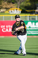 Andrew Heaney (17) of the Salt Lake Bees before the game against the Sacramento River Cats in Pacific Coast League action at Smith's Ballpark on April 20, 2015 in Salt Lake City, Utah.  (Stephen Smith/Four Seam Images)