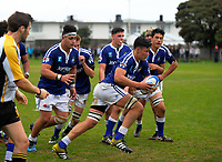 Action from the Wellington College Rugby traditional rugby match between St Patrick's College (Town) and Wellington College at Evan's Bay Park, Wellington, New Zealand on Wednesday, 31 May 2017. Photo: Dave Lintott / lintottphoto.co.nz