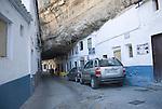 Buildings built with rock roof at Setenil de las Bodegas, Cadiz province, Spain
