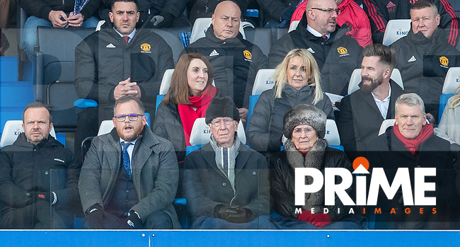 Man Utd CEO Ed Woodward (left) David Gill (right) & Bobby Charlton with wife Norma during the Premier League match between Leicester City and Manchester United at the King Power Stadium, Leicester, England on 3 February 2019. Photo by Andy Rowland.