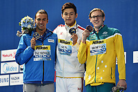 PALTRINIERI Gregorio ITA  Silver Medal , SUN Yang CHN Gold Medal, HORTON Mack AUS Bronze Medal Men's 800m Freestyle <br /> Day13 05/08/2015 Kazan Arena <br /> Swimming Nuoto <br /> XVI FINA World Championships Aquatics  <br /> Kazan Tatarstan RUS <br /> Photo Andrea Staccioli/Deepbluemedia/Insidefoto