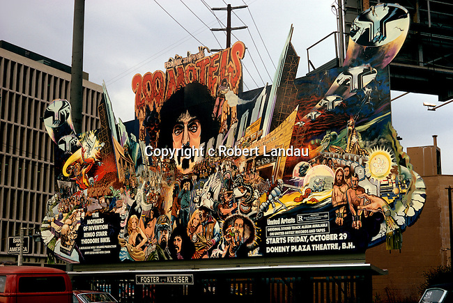Billboard for Frank Zappa's movie titled 200 Motels on the Sunset Strip in Los Angeles, California circa 1971