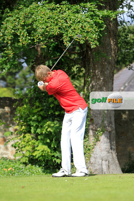 David Fenn (Killiney) on the 2nd tee during Round 1 of the Grange Dublin Boys on Monday 21th July 2014.<br /> Picture:  Thos Caffrey / www.golffile.ie