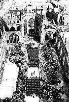 U.S. wounded soldiers attend Mother's Day services in blitzed Coventry Cathedral, England.  Men are patients in nearby convalescent hospitals.  Mayor of Coventry attended ceremony.  May 13, 1945.  T3c. A. Cissna.  (Army)<br /> NARA FILE #:  111-SC-206681<br /> WAR &amp; CONFLICT BOOK #:  934