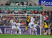FAO SPORTS PICTURE DESK<br /> Pictured: Ashley Williams of Swansea (2) battling for a header against Grant Hanley of Blackburn Rovers (31). Saturday, 14 April 2012<br /> Re: Premier League football, Swansea City FC v Blackburn Rovers at the Liberty Stadium, south Wales.