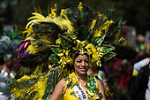 London, UK. 28 August 2017. Carnival Queen from People's World. Notting Hill Carnival celebrations and parade on Bank Holiday Monday. The festival attacts over 1 million visitors and in 2017  it remembers the victims of the Grenfell Tower fire.