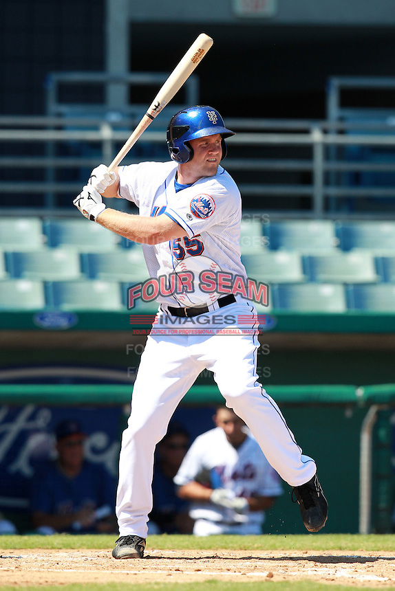 New York Mets minor league third baseman Eric Campbell (55) during a game vs. the Minnesota Twins in an Instructional League game at City of Palms Park in Fort Myers, Florida;  October 4, 2010.  Photo By Mike Janes/Four Seam Images