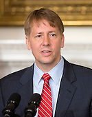 Richard Cordray, new Director of the Consumer Financial Protection Bureau makes remarks following those of United States President Barack Obama (not pictured) in the State Dining Room of the White House in Washington, D.C. on Wednesday, July 17, 2013. <br /> Credit: Ron Sachs / Pool via CNP