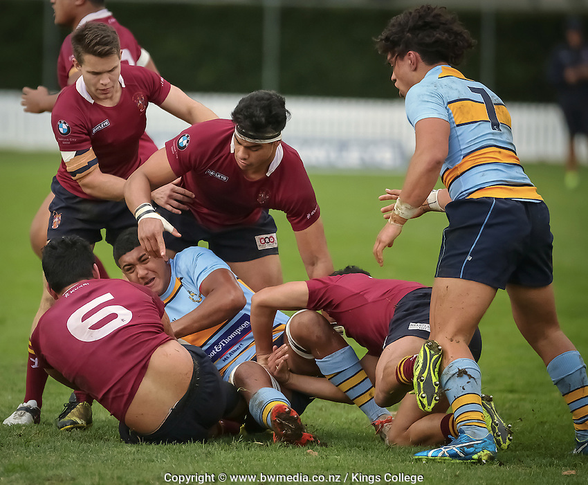 1st XV rugby, Kings College v MAGS at Kings College, Auckland, New Zealand on Saturday, 30 July 2016. Photo: Dave Mackay / www.bwmedia.co.nz for Kings College