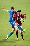 SC Kitchee Defender Helio de Souza (L) fights for the ball with Ka Hang Leong of Pegasus (R) during the week three Premier League match between Hong Kong Pegasus and Kitchee at Hong Kong Stadium on September 17, 2017 in Hong Kong, China. Photo by Marcio Rodrigo Machado / Power Sport Images