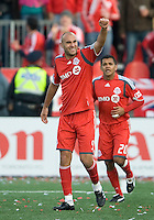 26 April 2009:  Toronto FC forward Danny Dichio #9 waves to the crowd after scoring the games only goal during an MLS game at BMO Field between Kansas City Wizards and Toronto FC.Toronto FC won 1-0. .