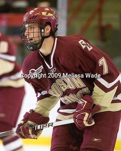 Carl Sneep (BC - 7) - The Boston College Eagles defeated the Harvard University Crimson 3-2 on Wednesday, December 9, 2009, at Bright Hockey Center in Cambridge, Massachusetts.