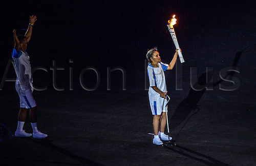07.9.2016. Rio de Janeiro, Brazil.  Marcia Malsar (R) holds the Paralympic torch during the Opening Ceremony of the Rio 2016 Paralympic Games, Rio de Janeiro, Brazil, 07 September 2016.