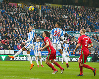 Huddersfield Town's Thomas Ince tries to nod the ball on to Steve Mounie<br /> <br /> Photographer Alex Dodd/CameraSport<br /> <br /> The Premier League - Huddersfield Town v Swansea City - Saturday 10th March 2018 - John Smith's Stadium - Huddersfield<br /> <br /> World Copyright &copy; 2018 CameraSport. All rights reserved. 43 Linden Ave. Countesthorpe. Leicester. England. LE8 5PG - Tel: +44 (0) 116 277 4147 - admin@camerasport.com - www.camerasport.com