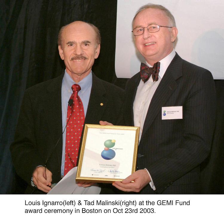 Louis Ignarro(left) & Tad Malinski(right) at the GEMI Fund award ceremony in Boston. Oct 23rd 2003