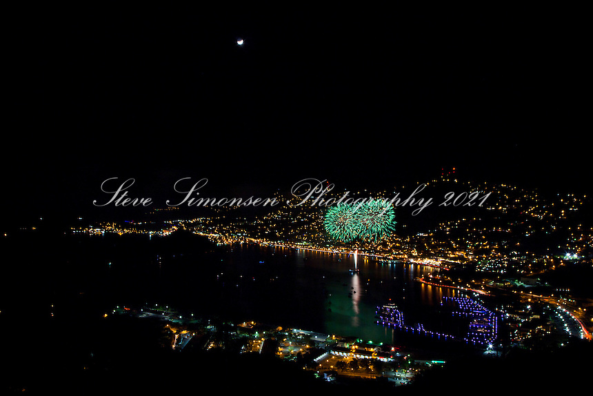 Fireworks over Charlotte Amalie<br /> Carnival Festivities<br /> St. Thomas<br /> U.S. Virgin Islands