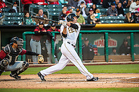 Roger Kieschnick (33) of the Salt Lake Bees at bat against the Sacramento River Cats in Pacific Coast League action at Smith's Ballpark on April 17, 2015 in Salt Lake City, Utah.  (Stephen Smith/Four Seam Images)