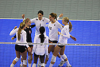 15 December 2007: Stanford Cardinal Bryn Kehoe (4), Gabi Ailes (9), Cynthia Barboza (1), Franci Girard (6), Alix Klineman (10), and Alex Fisher (5) during Stanford's 25-30, 26-30, 30-23, 30-19, 8-15 loss against the Penn State Nittany Lions in the 2007 NCAA Division I Women's Volleyball Final Four championship match at ARCO Arena in Sacramento, CA.