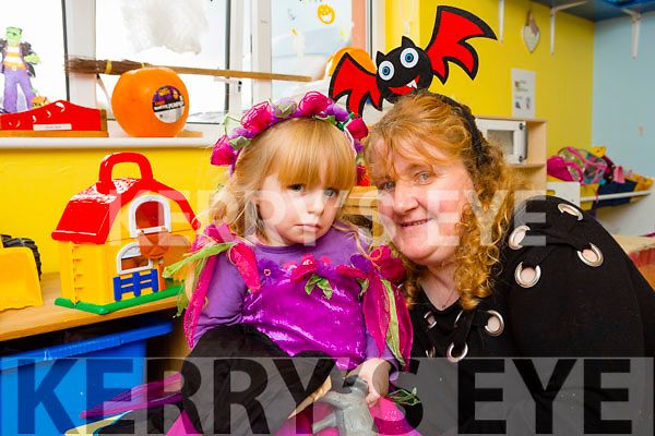 Little Amber Keating and her nana Liz Powell at the Castlemaine Maine Valley creche who held a Halloween fancy dress party in aid of Temple Street, Childrens Hospital Neology Department