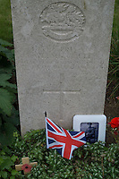 A gravestone of a British soldier of World War I stands at Peronne Road Cemetery in Peronne, La Somme, France, August 17, 2014. 2014 marks 100th anniversary of the Great War.