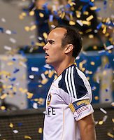 CARSON, CA – September 9, 2011: LA Galaxy midfielder Landon Donovan (10) after his goal during the match between LA Galaxy and Colorado Rapids at the Home Depot Center in Carson, California. Final score LA Galaxy 1, Colorado Rapids 0.