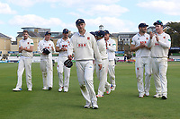 Jamie Porter of Essex leaves the field with his Essex team mates after victory during Essex CCC vs Hampshire CCC, Specsavers County Championship Division 1 Cricket at The Cloudfm County Ground on 21st May 2017