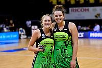 Pulse' Maddy Gordon and Pulse' Elle Temu, ANZ Premiership - Pulse v Magic at TSB Bank Arena, Wellington, New Zealand on Sunday 21 April 2019. <br /> Photo by Masanori Udagawa. <br /> www.photowellington.photoshelter.com