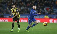 Leicester City's Ben Chilwell watched by Watford's Kiko Femenia <br /> <br /> Photographer Stephen White/CameraSport<br /> <br /> The Premier League - Leicester City v Watford - Saturday 1st December 2018 - King Power Stadium - Leicester<br /> <br /> World Copyright © 2018 CameraSport. All rights reserved. 43 Linden Ave. Countesthorpe. Leicester. England. LE8 5PG - Tel: +44 (0) 116 277 4147 - admin@camerasport.com - www.camerasport.com