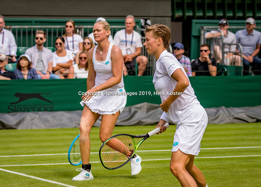 London, England, 8 July, 2019, Tennis,  Wimbledon, Women's doubles: Demi Schuurs (NED) and Anna-Lena Groenefeld (GER) (L)<br /> Photo: Henk Koster/tennisimages.com
