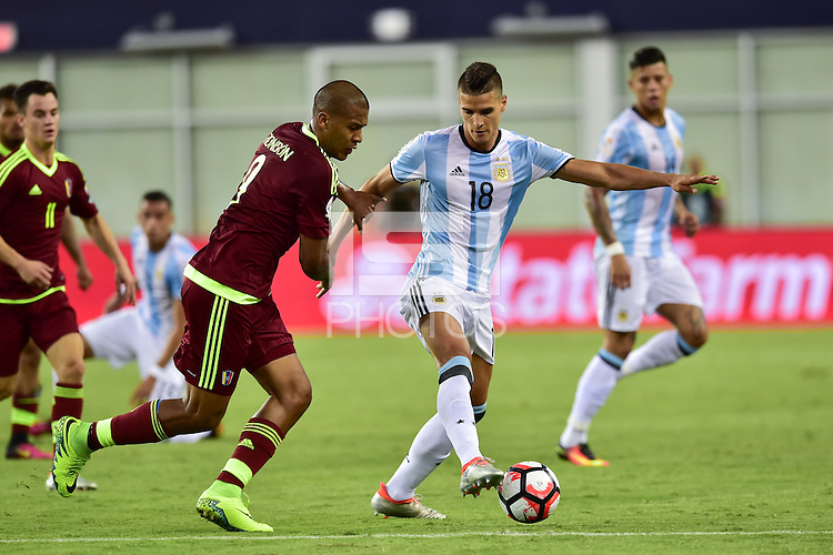 Foxborough, MA - Saturday June 18, 2016: Erik Lamela during a Copa America Centenario quarterfinal match between Argentina (ARG) and Venezuela (VEN)  at Gillette Stadium.