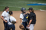 30 MAY 2016: Messiah College Head Coach, Amy Weaver talks with her team during the Division III Women's Softball Championship is held at the James I Moyer Sports Complex in Salem, VA.  University of Texas-Tyler defeated Messiah College 7-0 for the national title. Don Petersen/NCAA Photos