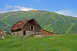 The classic Moore barn in Steamboat Springs, Colorado in the summer time.