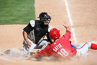 April 2, 2010:  Catcher Ramon Cabrera of the Pittsburgh Pirates organization tags out Stephen Batts of the Phillies during Spring Training at Bright House Field in Clearwater, FL.  Photo By Mike Janes/Four Seam Images
