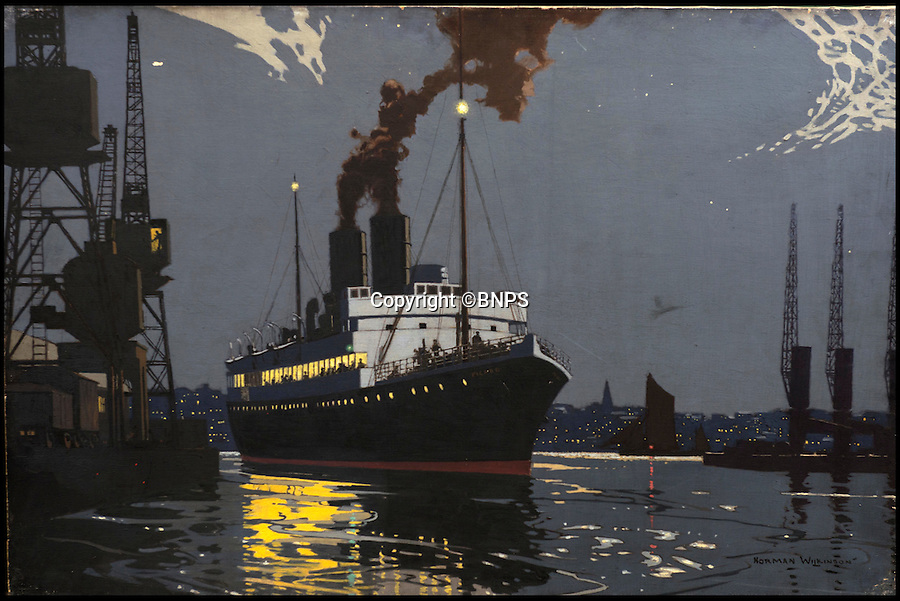 BNPS.co.uk (01202 558833)<br /> Pic: TomWren/BNPS<br /> <br /> An original artwork by Norman Wilkinson entitled Tilbury for the continent. <br /> <br /> A collection of vintage posters used to promote Britain's railways during the golden age of steam have gone on sale for a whopping &pound;20,000 after being saved from the skip.<br /> <br /> Quick-thinking railway worker Albert Cook heard the 130 carriage panel prints from the 1930s including 12 original artworks were to be thrown away at London's Liverpool Street Station, so he asked permission to take them home.<br /> <br /> The art deco-style posters advertised popular destinations such as Northumberland's Whitley Bay, Woodhall Spa in Lincs and Dovercourt Bay in Essex as railway tourism opened up Britain to the masses.<br /> <br /> The archive will be sold by Onslows auctioneers in Blandford, Dorset, on July 14.