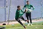 Getafe's Jean Paul Garcia (r) and David Soria during training session. May 25,2020.(ALTERPHOTOS/Acero)