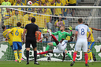 Tammy Abraham of England   just fails to convert a bicycle kick during Sweden Under-21 vs England Under-21, UEFA European Under-21 Championship Football at The Kolporter Arena on 16th June 2017