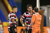 Referee Cameron Stone sends Sam Henwood to the bin for 10 minutes after a dangerous tackle. Mitre 10 Cup rugby game between Counties Manukau Steelers and Auckland played at ECOLight Stadium, Pukekohe on Saturday August 19th 2017. Counties Manukau Stelers won the game 16 - 14 and retain the Dan Bryant Memorial trophy.<br /> Photo by Richard Spranger.