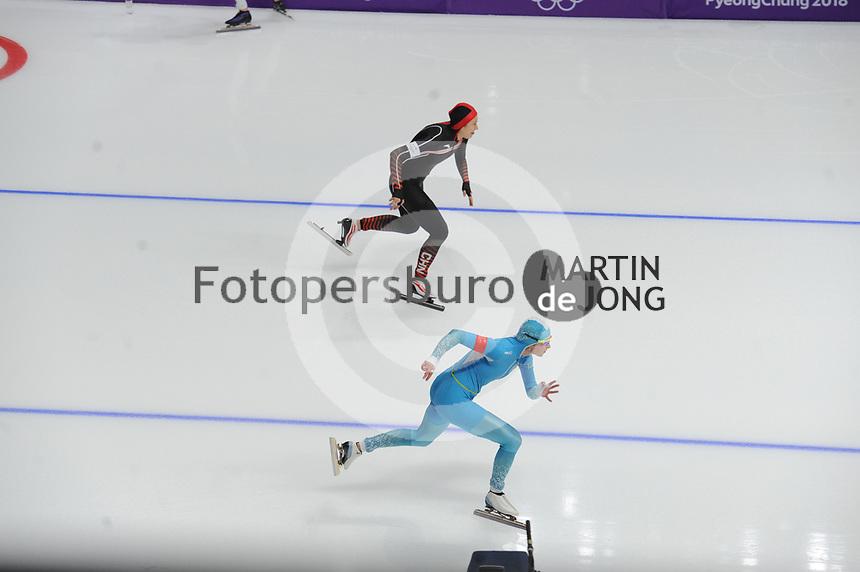 OLYMPIC GAMES: PYEONGCHANG: 18-02-2018, Gangneung Oval, Long Track, 500m Ladies, Hong Zhang (CHN), Yekaterina Aydova (KAZ), ©photo Martin de Jong