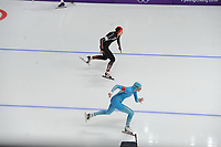 OLYMPIC GAMES: PYEONGCHANG: 18-02-2018, Gangneung Oval, Long Track, 500m Ladies, Hong Zhang (CHN), Yekaterina Aydova (KAZ), ©photo Martin de Jong