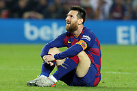 29th October 2019; Camp Nou, Barcelona, Catalonia, Spain; La Liga Football, Barcelona versus Real Valladolid; Leo Messi sits on the pitch as another attack breaks down