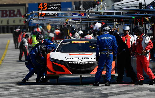 Pirelli World Challenge<br /> Intercontinental GT Challenge California 8 Hours<br /> Mazda Raceway Laguna Seca<br /> Sunday 15 October 2017<br /> Ryan Eversley, Tom Dyer, Dane Cameron, Acura NSX GT3, GT3 Overall pit stop<br /> World Copyright: Richard Dole<br /> LAT Images<br /> ref: Digital Image RD_PWCLS17_326