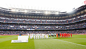 9th December 2017, Santiago Bernabeu, Madrid, Spain; La Liga football, Real Madrid versus Sevilla; The teams line up before the gmae