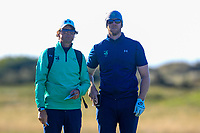 Neil Manchip (National Coach) and Peter O'Keeffe from Ireland on the 18th tee during Round 1 Singles of the Men's Home Internationals 2018 at Conwy Golf Club, Conwy, Wales on Wednesday 12th September 2018.<br /> Picture: Thos Caffrey / Golffile<br /> <br /> All photo usage must carry mandatory copyright credit (© Golffile | Thos Caffrey)