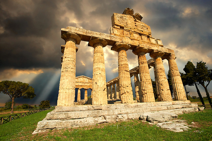 The ancient Doric Greek  temple of Athena of Pastrum built in about 500 BC.  Paestrum archaeological site, Italy.