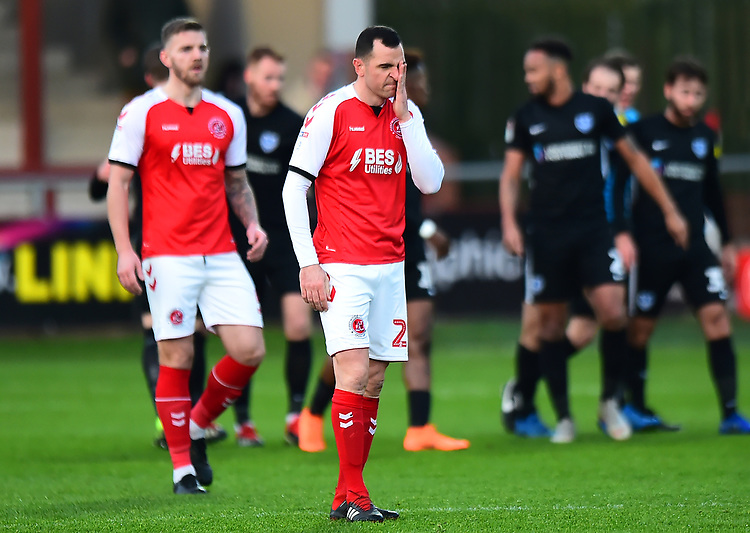 Fleetwood Town's Dean Marney reacts after Portsmouth's first goal<br /> <br /> Photographer Richard Martin-Roberts/CameraSport<br /> <br /> The EFL Sky Bet League One - Fleetwood Town v Portsmouth - Saturday 29th December 2018 - Highbury Stadium - Fleetwood<br /> <br /> World Copyright © 2018 CameraSport. All rights reserved. 43 Linden Ave. Countesthorpe. Leicester. England. LE8 5PG - Tel: +44 (0) 116 277 4147 - admin@camerasport.com - www.camerasport.com