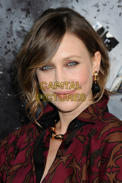 "VERA FARMIGA .""Source Code"" Los Angeles Premiere held at ArcLight Cinemas, Hollywood, California, USA,.28th March 2011..portrait headshot  gold necklace red print make-up eyeliner beauty earrings  brown maroon burgundy  .CAP/ADM/BP.©Byron Purvis/AdMedia/Capital Pictures."