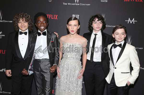 08 January 2016 - Beverly Hills, California - Gaten Matarazzo, Caleb McLaughlin, Finn Wolfhard, Millie Bobby Brown and Noah Schnapp. 2017 Weinstein Company And Netflix Golden Globes After Party held at the Beverly Hilton. Photo Credit: F. Sadou/AdMedia